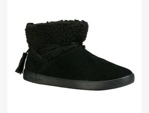 UGG-KOOLABURRA-Black-Suede-Boots-8-wide-fur-lined-New-Ankle-style