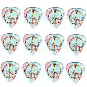 12-Bulk-Pick-Pack-PEACE-LOVE-HAPPY-FLOWER-Power-Medium-Gauge-Guitar-Picks-Hippy