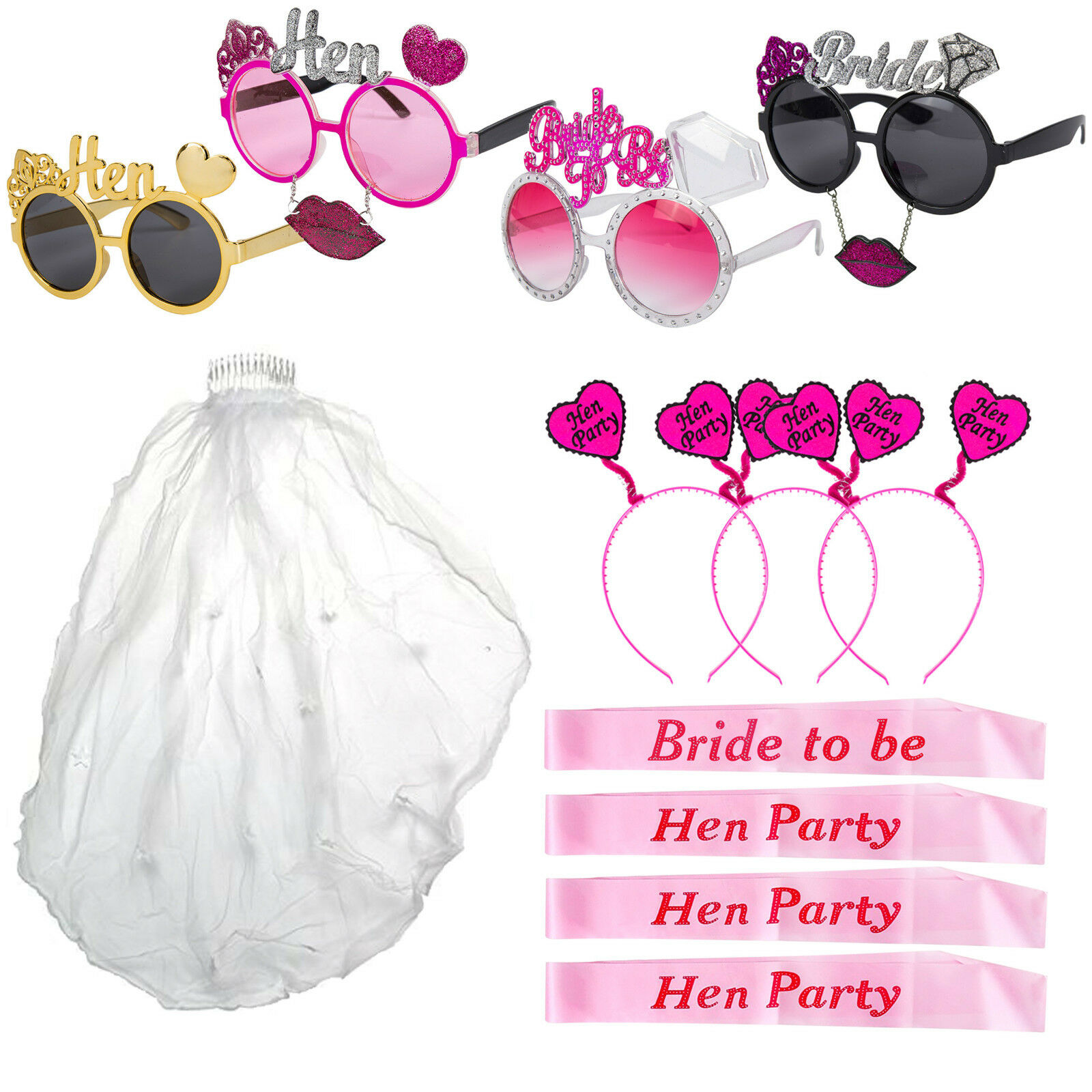 Hen Party Night Fun Accessories Bunting L Plates Photo Booth Props Headbands