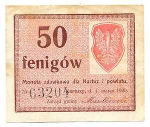 Poland Local Currency Moneta Zdawkowa Kartuzy i Powiat 50 Fenigow 1.03. 1920 VF