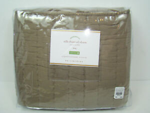 Pottery Barn Silk Channel Sham King Brownstone Brown Two-toned