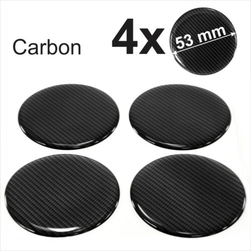 4x 53mm Carbon Domed Resin Stickers Wheel trims Centre Cap Hub Caps Badge Emblem