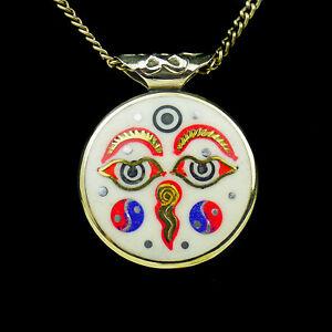 Pendentif-Amulette-Bijoux-Bouddhisme-Buddha-Katmandou-Ying-Yang-Mandala-Dorje