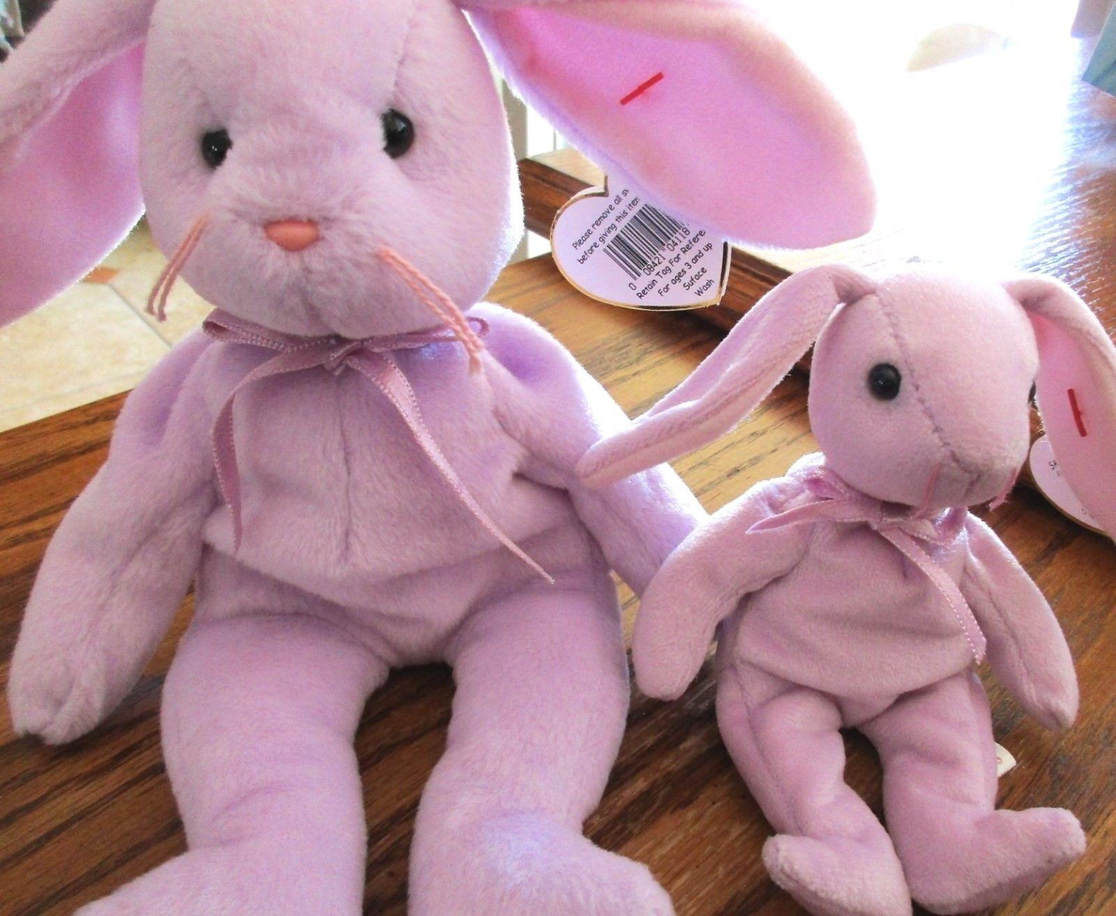 '96 TY Beanie FLOPPITY Lavender Bunny w Mfg Errors + 2001 Basket Beanie Floppity