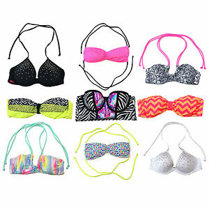 Victoria-039-s-Secret-Pink-Bikini-Swim-Top-Bathing-Suit-Swimsuit-Bling-Vs-New-Nwt
