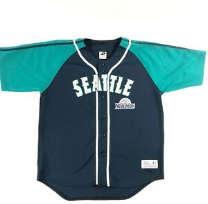 quality design dd268 230bd Details about Seattle Mariners MLB Dynasty Jersey baseball Navy Blue  Embroidered Large
