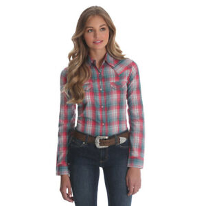 a69724f0 LW1010M Wrangler Women's Pink & Green Plaid Long Sleeve Western Snap ...