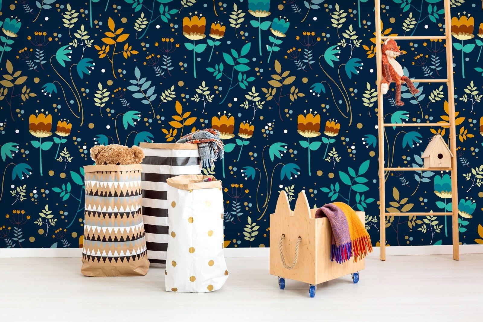 3D blue bluemen 804 Tapete Wandgemälde Tapete Tapeten Bild Familie DE Lemon