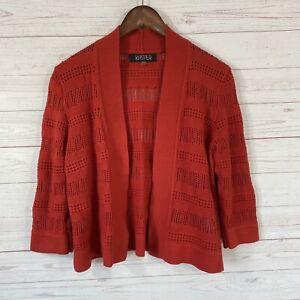 Kasper-Open-Front-3-4-Sleeve-Cardigan-Sweater-Size-Medium-Red-Cotton-Blend