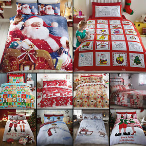 FATHER-CHRISTMAS-TREE-SANTA-CLAUS-REINDEER-SNOWMAN-QUILT-DUVET-COVER-BEDDING-SET