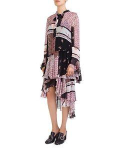 5dca379b0 NWT $450 The Kooples size Medium Patchwork Dress TIERED asymmetrIc ...