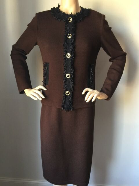 NWT St John Knit suit skirt jacket size 16 brown & black wool rayon