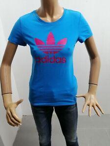 Maglia-ADIDAS-Donna-Taglia-Size-38-Maglietta-T-Shirt-Woman-Cotone-Azzurro-4843