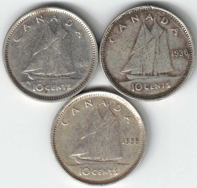3 X CANADA 10 CENTS DIMES KING GEORGE VI SILVER COIN 1937 1938 1939