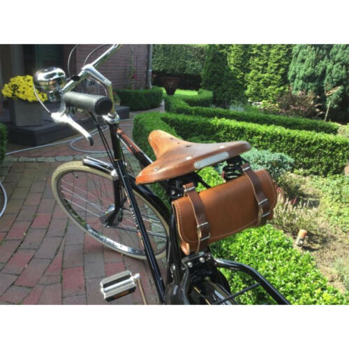LEATHER BIKE BLACK SADDLE BAG VINTAGE SEAT PACK TAIL STRAP CITY ROAD CYCLE SYNT
