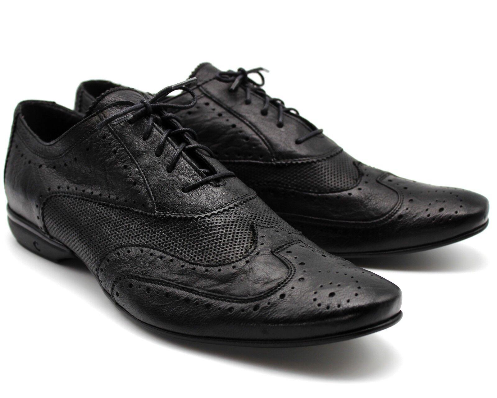 * 215 nuovo nero vera pelle Lacci Smart Casual Scarpe Con Lacci pelle Sportivo Scarpe Da Ginnastica EU44 a56967
