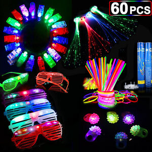 60PCS-LED-Party-Favors-Light-Up-Glow-Toys-Gift-Ring-Rave-Glasses-School-Decora