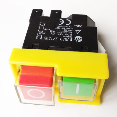 KEDU KJD20-2//120V 4Pin 120V 3//4HP Electromagnetic Power On Off Pushbutton Switch