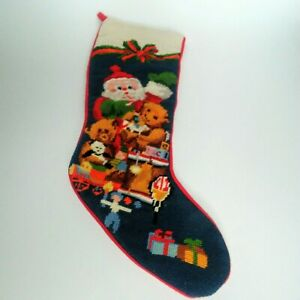 Vintage Needlepoint Christmas Stockings.Details About Vintage Needlepoint Christmas Santa Presents Stocking