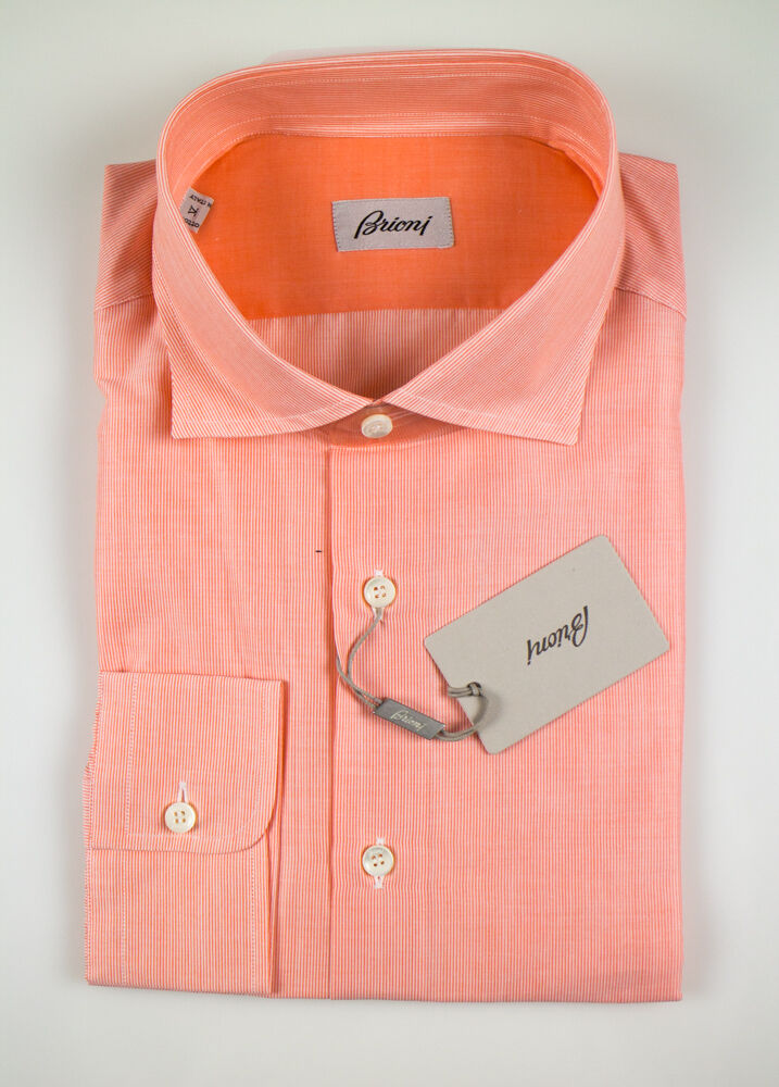 NWT  BRIONI orange Striped Cotton Slim Fit Casual Shirt Size Small