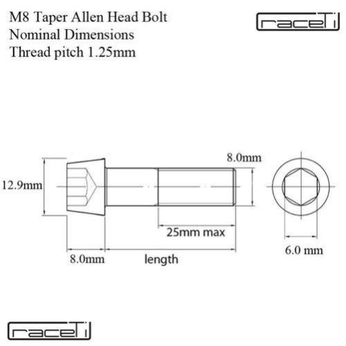 M8 Titan Bänder Kegel Allen Kopfschraube 15 20 25 30 35 40 45 50 55 Ti Schraube