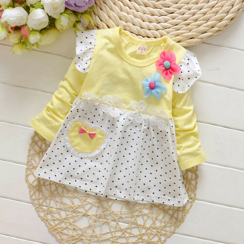 1pc infant Baby clothes girls long sleeve cotton dress kids party wedding dress