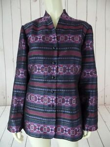 TALBOTS-Blazer-M-98-Silk-Blend-Shiny-Metallic-Tunic-Style-Art-Deco-Stripes-CHIC