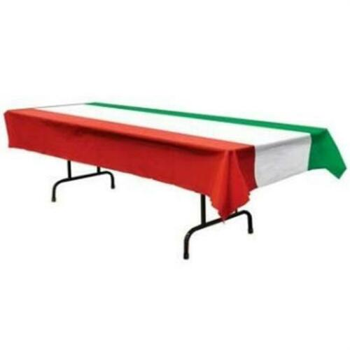 Red White and Green Banquet Table Cover Fiesta Mexican International Decoration
