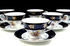 EURO Porcelain 12-Pc. Tea Coffee Set 24K Gold Cups + Saucers, Czech Tableware