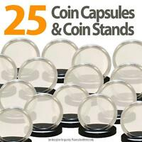 25 Coin Capsules & 25 Coin Stands For Penny Direct Fit Airtight A19 Coin Holder