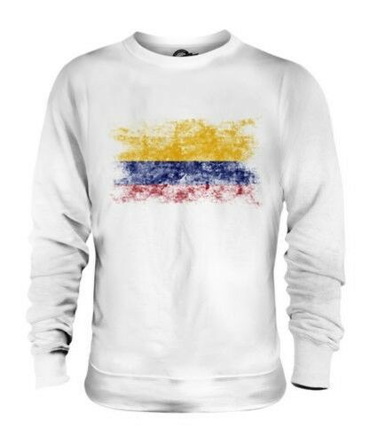 COLOMBIA DISTRESSED FLAG UNISEX SWEATER TOP COLOMBIAN SHIRT FOOTBALL JERSEY GIFT