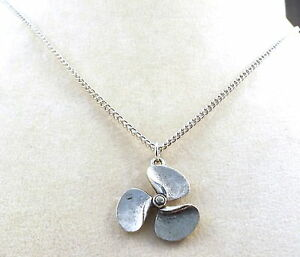 Child-039-s-Pewter-Propeller-Pendant-on-a-Silver-Tone-Link-Chain-Necklace-1036
