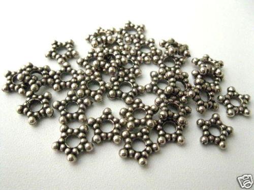 30 Acrylperlen Spacer 9x2mm altsilber Perlen neu 4820