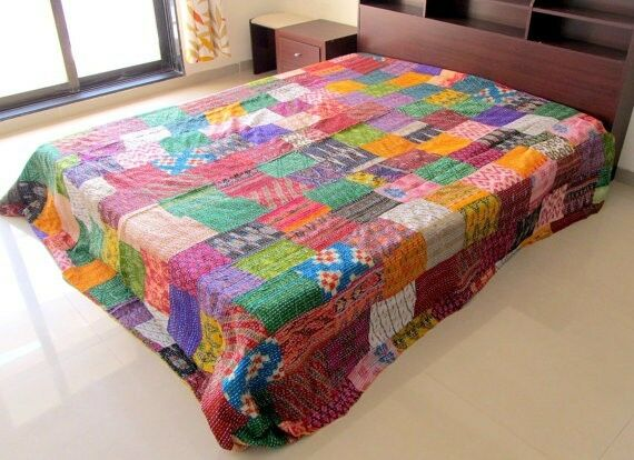 KANTHA QUILT INDIAN IKAT SILK HANDMADE KANTHA STITCH PATCHWORK BED SPREAD TWIN