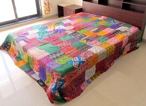 Indian-Vintage-Ikat-Silk-Kantha-Patchwork-Handmade-Quilt-Blanket-King-Size-Throw