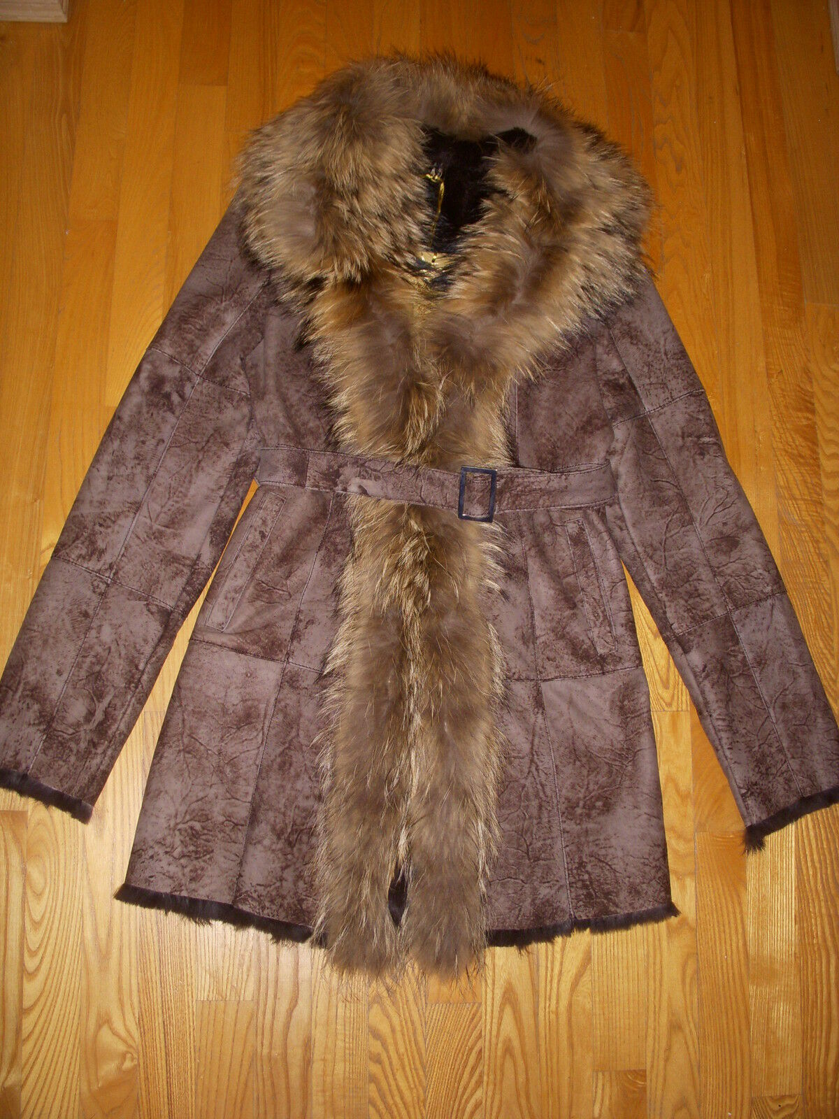 K-YEN Shearling Fur Leather Coat Racoon Trim made in France Size L BNWT