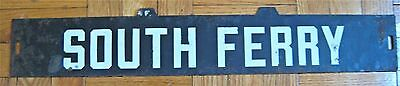 Vintage New York Subway Train Low-V Destination Sign South Ferry Manhattan