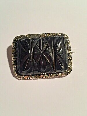 Antique Carved Whitby Jet Brooch  Victorian Mourning Jewellery
