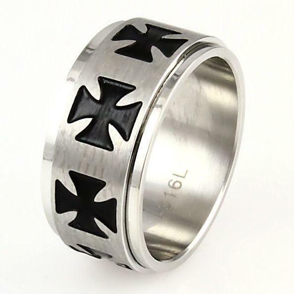 Mens 316L Cast Stainless Steel Maltese Cross Biker/'s Ring Rafferty