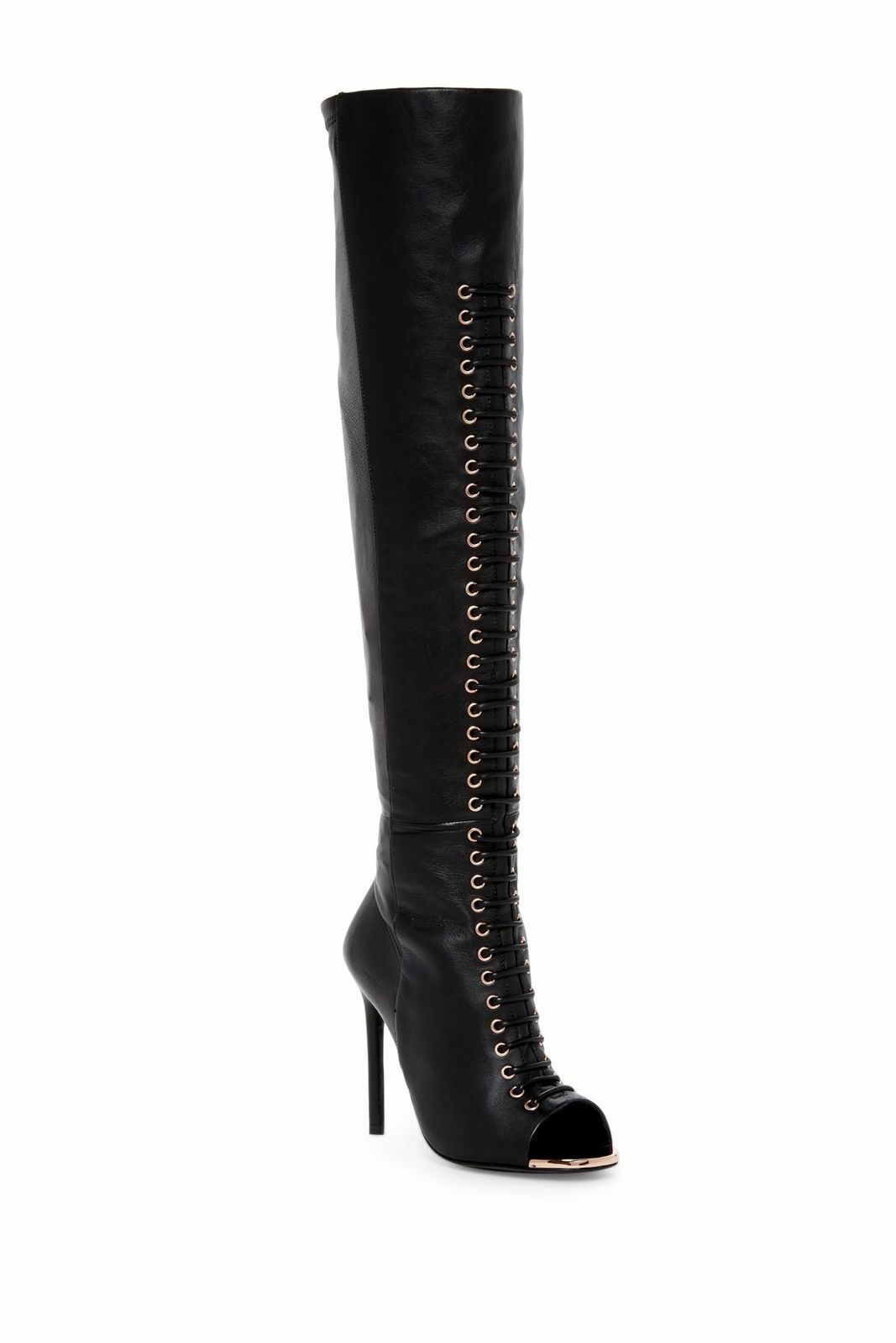 Ivy Kirzhner Crane Black Stretch Calf Leather Fitted Peep Toe Over-the-Knee Boot