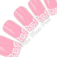 Nail Art Water Slide Transfers Decals White Roses for Tips French Manicure Y038