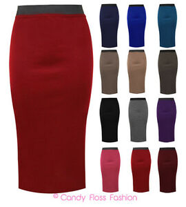LADIES-PLAIN-OFFICE-WOMENS-STRETCH-BODYCON-MIDI-PENCIL-SKIRT-PLUS-SIZE-8-22