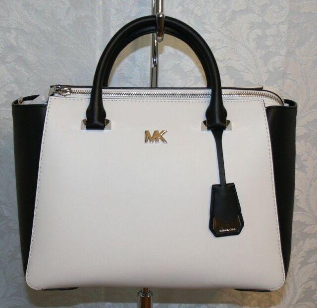d9fa677b7891b9 Michael Kors Nolita Medium Satchel Opticwht/black Leather 30s8sy5s2t ...