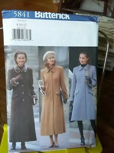 Oop-Butterick-5841-misses-winter-coat-lined-cuffs-welts-sz-8-12-NEW