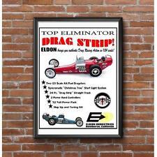 Eldon Top Eliminator Drag Strip Poster - 1960's Vintage Slot Car Racing
