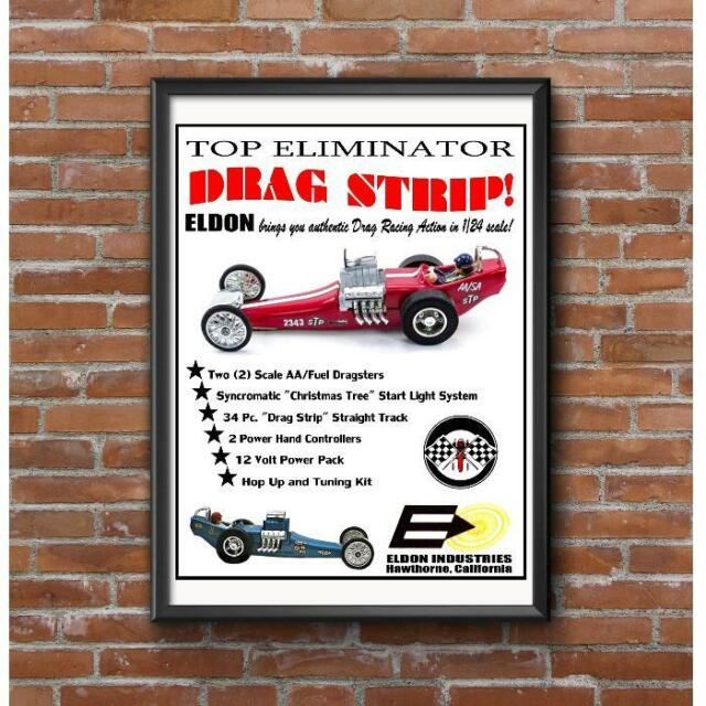 Eldon Top Eliminator Drag Strip Poster - 1960's Vintage Slot Car Racing