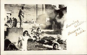 Burning-Ghat-Benares-India-Amateur-c1910-Real-Photo-Postcard-rtw