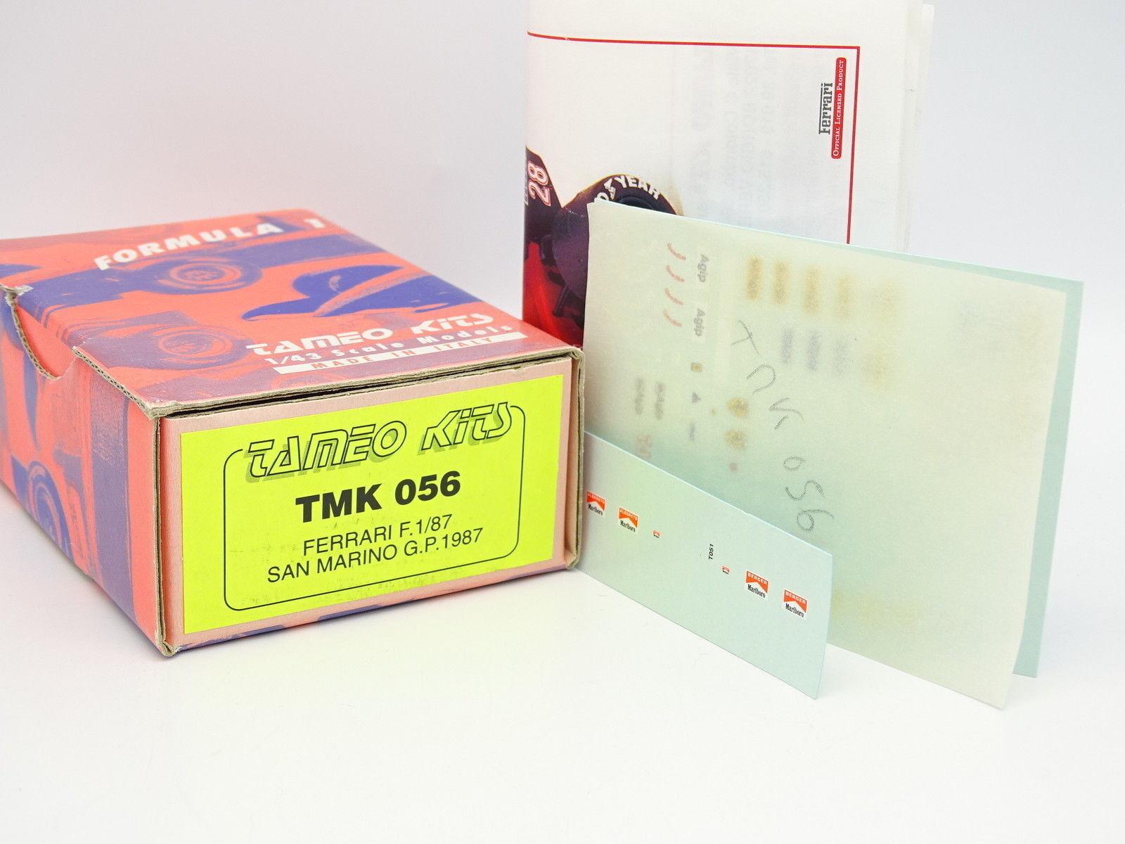 Tameo Set zum zum zum Zusammenbauen 1 43 F1 Ferrari 87 San Marino GP 1987 Marlbgold 082aeb