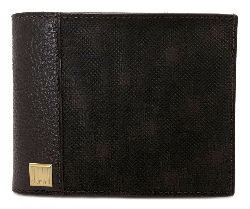 Authentic DUNHILL D- Eight two-fold dark brown PVC leather Men's Dunhill