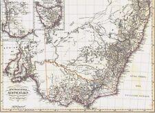 Echte 167 Jahre alte Landkarte AUSTRALIEN Süd-und West Australien Tasmanien 1850